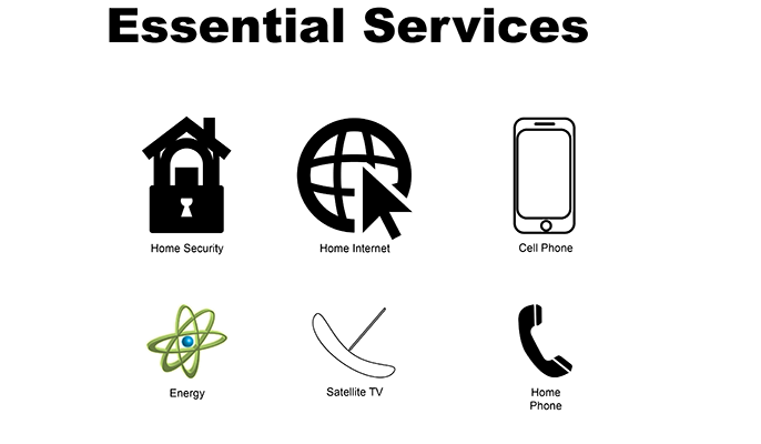 Essential Services: (Top Left) Home Security (Top Middle) Home Internet (Top Right) Cell Phone (Bottom Left) Energy (Bottom Middle) Satellite TV (Bottom Right) Home Phone